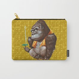 Relaxing Gorilla on Gold-leaf Screen Carry-All Pouch