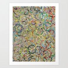 Rainbow Circles Collage Art Print