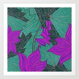 Australica Floral Palm Art Print