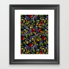 Flying Fox and Floral Pattern Framed Art Print