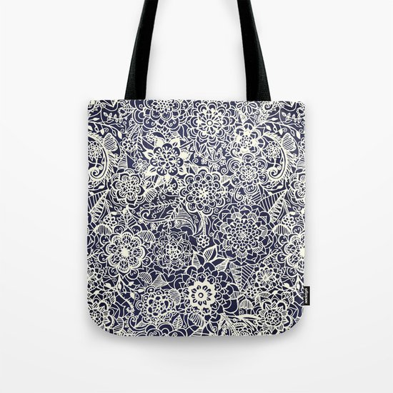 Lace on Nautical Navy Blue Tote Bag