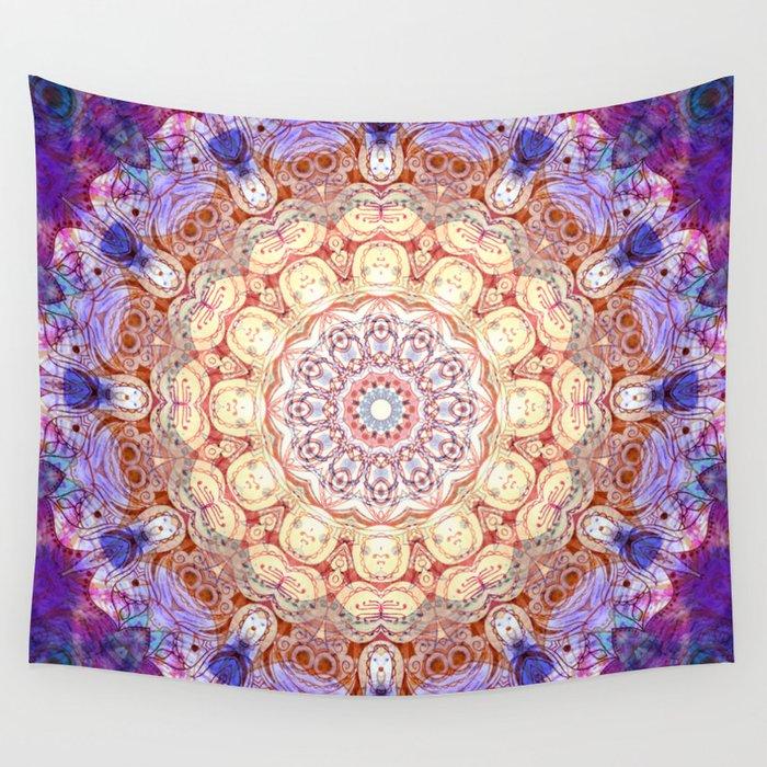 Watercolor Mandala Grunge - Magenta Blue Yellow Wall Tapestry