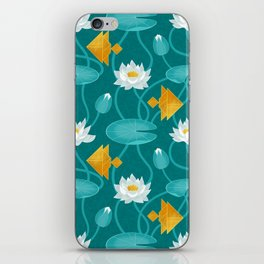 Tangram goldfish and water lillies iPhone Skin