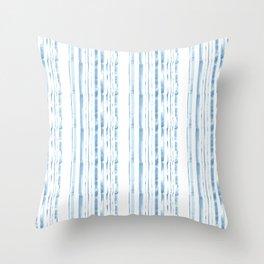 Blue watercolor stripe Throw Pillow