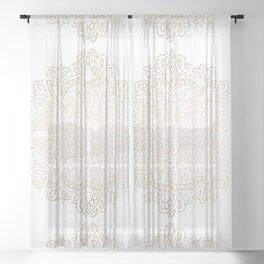 Mandala White Gold Shimmer by Nature Magick Sheer Curtain