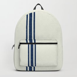 Vintage Country French Grainsack Blue Stripes Cream Background Backpack