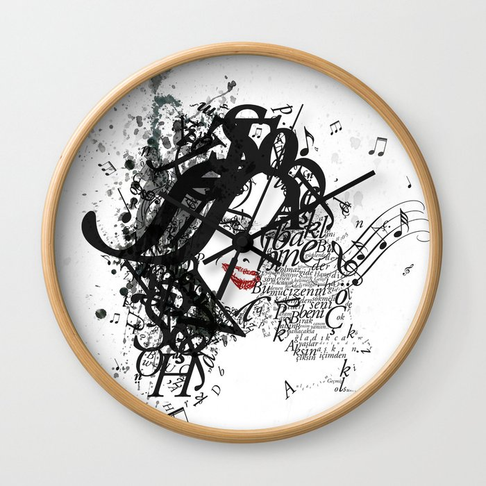 Musician Typographic Portrait Wall Clock