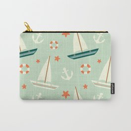 cute colorful sailboat pattern with anchor and lifebuoy Carry-All Pouch