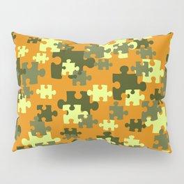 Puzzle green orange pattern Pillow Sham