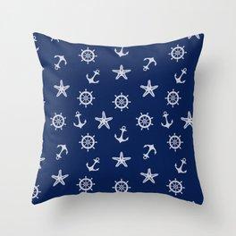 Navy Blue Nautical Pattern Throw Pillow