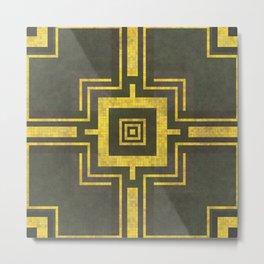 Old Mosaic Tiled Pattern - Summer Yellow On Black Metal Print