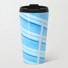 Blue Building - Watercolor, Tapeart Travel Mug