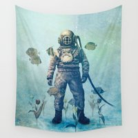 sea Wall Tapestries featuring Deep Sea Garden  by Terry Fan