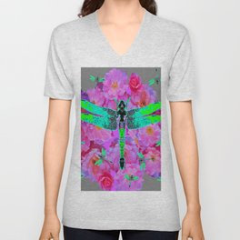 EMERALD DRAGONFLIES PINK ROSES GREY COLOR Unisex V-Neck