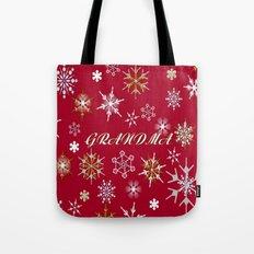 To Grandma At Christmas Greeting With Snowflakes  Tote Bag