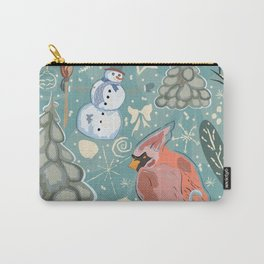 Red Bird and Winter Carry-All Pouch