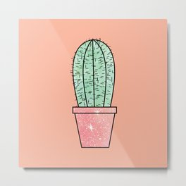 Cute Faux Sparkly Cactus on Coral Pink Metal Print