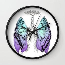 Butterfly Lungs Blue Purple Wall Clock