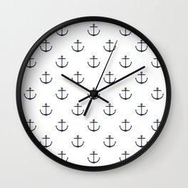 Yacht style. Anchor. Navy blue & white. Wall Clock