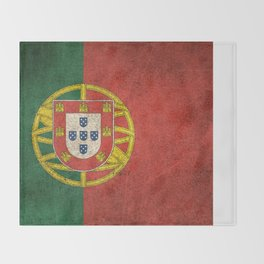 Old and Worn Distressed Vintage Flag of Portugal Throw Blanket