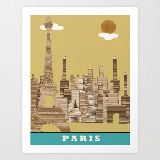 paris skyline (vintage Art Print