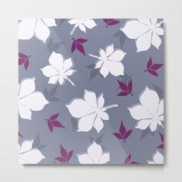 Serene Leaves Pattern Metal Print