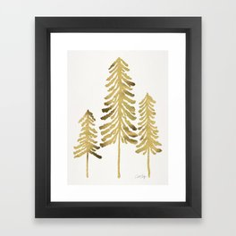 Pine Trees – Gold Palette Framed Art Print