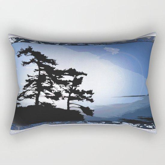 TWO WINDSWEPT DOUGLAS FIR ON THE SHORELINE Rectangular Pillow