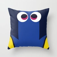 pixar Throw Pillows featuring PIXAR CHARACTER POSTER - Dory - Finding Nemo by Marco Calignano