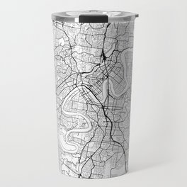 Brisbane Map White Travel Mug