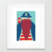 captain Framed Art Prints featuring Old Captain Redbeard by Monster Riot