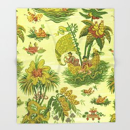 Chartreuse Chinoiserie Throw Blanket