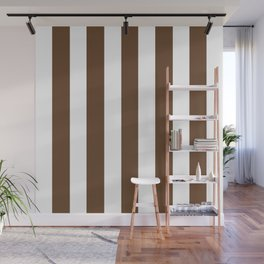 Van Dyke brown - solid color - white vertical lines pattern Wall Mural