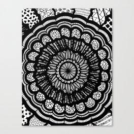 Black and White Freehand Drawing Mandala Design Canvas Print