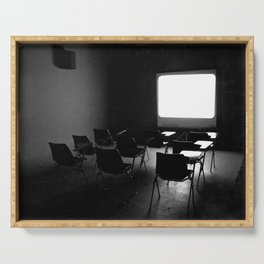 Empty Room Projection - Black and White Photography Serving Tray