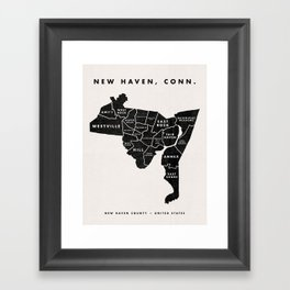 New Haven Map Framed Art Print