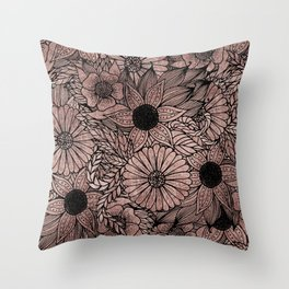Floral Rose Gold Flowers and Leaves Drawing Black Throw Pillow