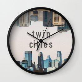 Twin Cities Minneapolis and Saint Paul Minnesota Skylines Wall Clock