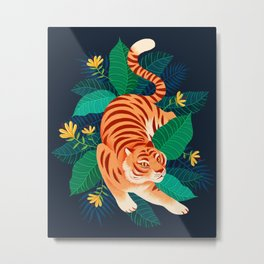 Hidden Tabby Tiger Metal Print