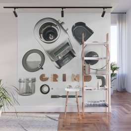 Grind // Exploded View Espresso Coffee Grinder Wood Block Typography Lettering Photograph Wall Mural