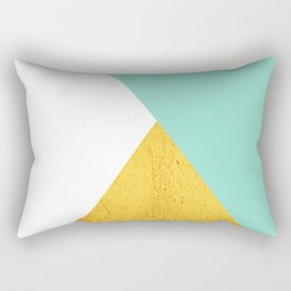 Gold & Aqua Blue Geometry Rectangular Pillow