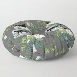 cats in the interior dark pattern Floor Pillow