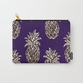 Gold Pineapples on purple Carry-All Pouch