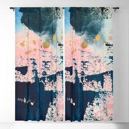 Candyland: a vibrant, colorful abstract piece in blue teal pink and gold by Alyssa Hamilton Art Blackout Curtain