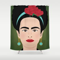 frida kahlo Shower Curtains featuring Frida Kahlo by Pedro Sousa