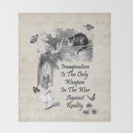 Alice In Wonderland Quote - Imagination Throw Blanket