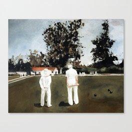 Lawn Bowls man and woman Canvas Print