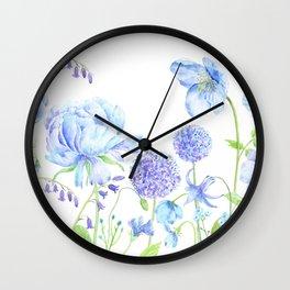Watercolor Blue Garden Illustration Wall Clock