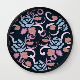 zakiaz blue roses on navy backround Wall Clock