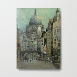 London's St Pauls and Ludgate Hill - Oil Painting, London, England Townscape by Godwin Bennett Metal Print
